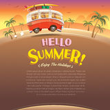 Hello summer! Camper van. Summer vacation. Wide copy space for text. Stock Images