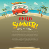 Hello summer! Camper van. Summer vacation. Wide copy space for text. Royalty Free Stock Photos