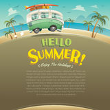 Hello summer! Camper van. Summer vacation. Wide copy space for text. Royalty Free Stock Images