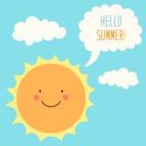 Hello Summer card as cute hand drawn smiling cartoon character of Sun Stock Photo