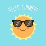 Hello Summer card as cute hand drawn smiling cartoon character of Sun Stock Photography