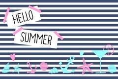 Hello summer card. Cute nautical design Royalty Free Stock Photos