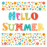Hello summer card with decorative design elements. Cute greeting Stock Images