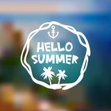 Hello Summer card design, banner template Beach mountain island on blue waves sea ocean blur background, white green blue. Vector vector illustration