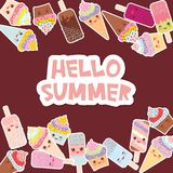 Hello Summer Card design for your text. cupcakes with cream, ice cream in waffle cones, ice lolly Kawaii with pink cheeks and wink. Ing eyes, pastel colors on vector illustration