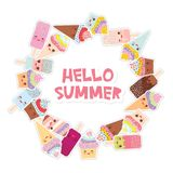 Hello Summer Card design for your text. round frame, wreath. cupcakes, ice cream in waffle cones, ice lolly Kawaii with pink cheek. S and winking eyes, pastel Royalty Free Stock Photo
