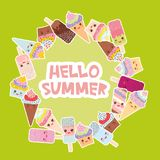 Hello Summer Card design for your text. round frame, wreath. cupcakes, ice cream in waffle cones, ice lolly Kawaii with pink cheek. S and winking eyes, pastel Royalty Free Stock Photos