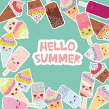 Hello Summer Card design for your text. round frame, wreath. cupcakes, ice cream in waffle cones, ice lolly Kawaii with pink cheek. S and winking eyes, pastel Stock Image