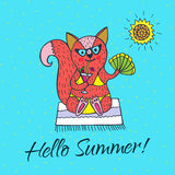 Hello Summer card with fox character and sun. Stock Photos