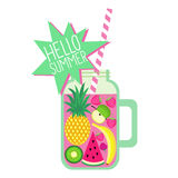 Hello summer card. Fresh smoothie and fruits on white background. Stock Image