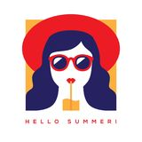 Hello summer card with girl in sunglasses Stock Photo