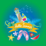 Hello Summer. Card. Hand drawing illustration Stock Photography