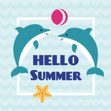 Hello Summer card with playing dolphins. And starfish on abstract wave background. Design for invitation, banner, card, poster, placard, flyer. Art vector Stock Image