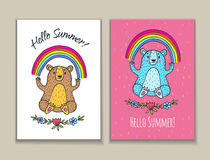 Hello Summer card set with bear character and rainbow. Royalty Free Stock Images