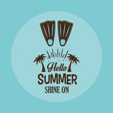 Hello summer card shine one with flippers blue background Royalty Free Stock Images