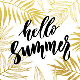 Hello Summer card with tropical leaf seamless golden pattern. Stock Image