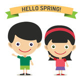 Hello Summer cartoon boy and girl with hands up Royalty Free Stock Images