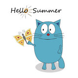 Hello summer cartoon character - vector Royalty Free Stock Image