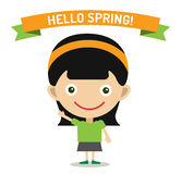 Hello Summer cartoon girl with hands up vector Stock Image