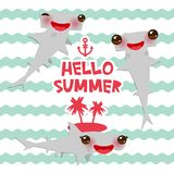 Hello summer Cartoon gray Smooth hammerhead Winghead shark Kawaii with pink cheeks and winking eyes smiling. blue waves sea ocean. Background. banner template Stock Images
