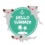 Hello Summer Cartoon gray Smooth hammerhead Winghead shark Kawaii with pink cheeks and winking eyes smiling. Round card design, ba. Nner template on blue white Royalty Free Stock Image