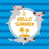 Hello Summer Cartoon gray Smooth hammerhead Winghead shark Kawaii with pink cheeks and winking eyes smiling. Round card design, ba stock illustration