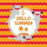 Hello Summer Cartoon gray Smooth hammerhead Winghead shark Kawaii with pink cheeks and winking eyes smiling. Round card design, ba. Nner template on orange red Royalty Free Stock Image