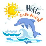 Hello summer cartoon poster with trendy design cartoon jumping dolphin. Summer and sea party motivation. Vector illustration Stock Image