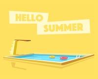 Hello summer. Cartoon vector illustration. Swimming pool. Retro poster Royalty Free Stock Photo