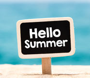 Hello summer on chalkboard Royalty Free Stock Photos
