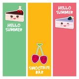Hello Summer cherry cute kawaii piece of cake, decorated with fresh blackberry, cherry, pink cream and chocolate icing. banner vector illustration
