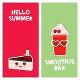 Hello Summer cherry Take-out smoothie cute kawaii piece of cake, decorated with fresh cherry, pink cream and chocolate icing. royalty free illustration
