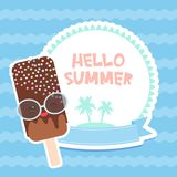 Hello Summer chocolate ice cream, ice lolly, Kawaii with pink cheeks and winking eyes, pastel colors card design, banner template. Palm island on blue waves sea Royalty Free Stock Photography