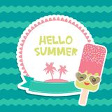 Hello Summer chocolate ice cream, ice lolly, Kawaii with sunglasses pink cheeks and winking eyes, pastel colors card design, banne. R template palm island on Royalty Free Stock Photo