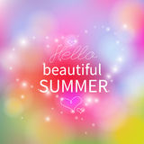Hello Summer. Color Blurred poster. Vector Royalty Free Stock Photography