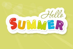 Hello summer colorful cutout letters on blurred sunny background. Festive banner. Stock Images