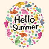 Hello Summer colorful flowers abstract background Stock Photography