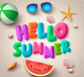 Hello summer colorful text vector banner in the beach with elements vector illustration