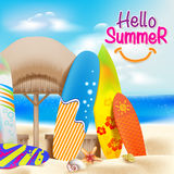Hello Summer Colorful Theme in the Beach beside the Seashore Royalty Free Stock Photography