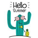 Hello Summer Concept With Fun Cactus And Pineapple. Royalty Free Stock Images