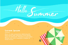Hello summer concept vector illustration. Top view of beach. Template for poster Royalty Free Stock Photos