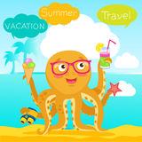 Hello Summer Cute Banner With Octopus. Vector Tentacle. Funny Cartoon Octopus Character Design. Stock Image