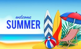 Hello Summer day travel holiday at beach tropical season landscape. With illustration of surfboard, ball, chair, and umbrella vector illustration