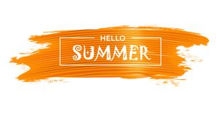 Hello summer decorative background. Abstract background with Hello Summer lettering on the bright yellow paint brash stroke. Vector illustration Royalty Free Stock Photo
