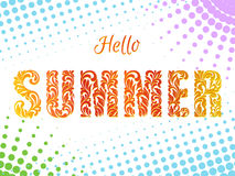 Hello SUMMER. Decorative Font made in swirls and floral elements Royalty Free Stock Images