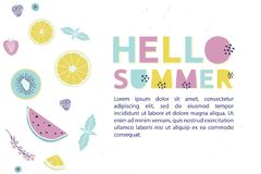 Hello Summer design concept fresh fruits, berries and trendy alp. Habet. Summertime  banner Royalty Free Stock Image