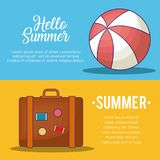 Hello summer design. Infographic presentation of hello summer design with ball and briefacase icons, colorful design vector illustration Stock Photo