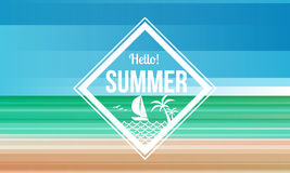 Hello summer diamond label on Sand and sea beach abstract background vector design Stock Photography