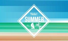 Hello summer diamond label on Sand and sea beach abstract background vector design stock illustration