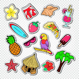 Hello Summer Doodle. Beach Vacation Stickers, Badges and Patches with Palm Tree, Parrot and Surf royalty free illustration